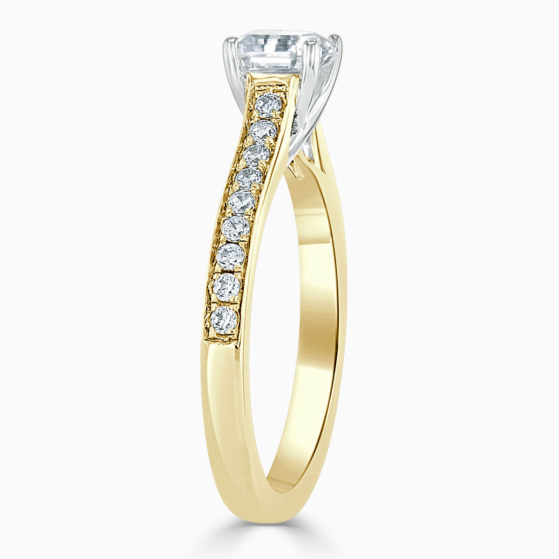 18ct Yellow Gold Asscher Cut Openset Pavé Engagement Ring