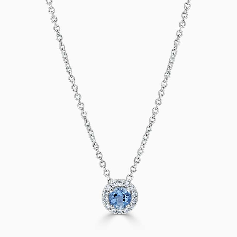 18ct White Gold Aquamarine and Diamond Cutdown Halo Pendant