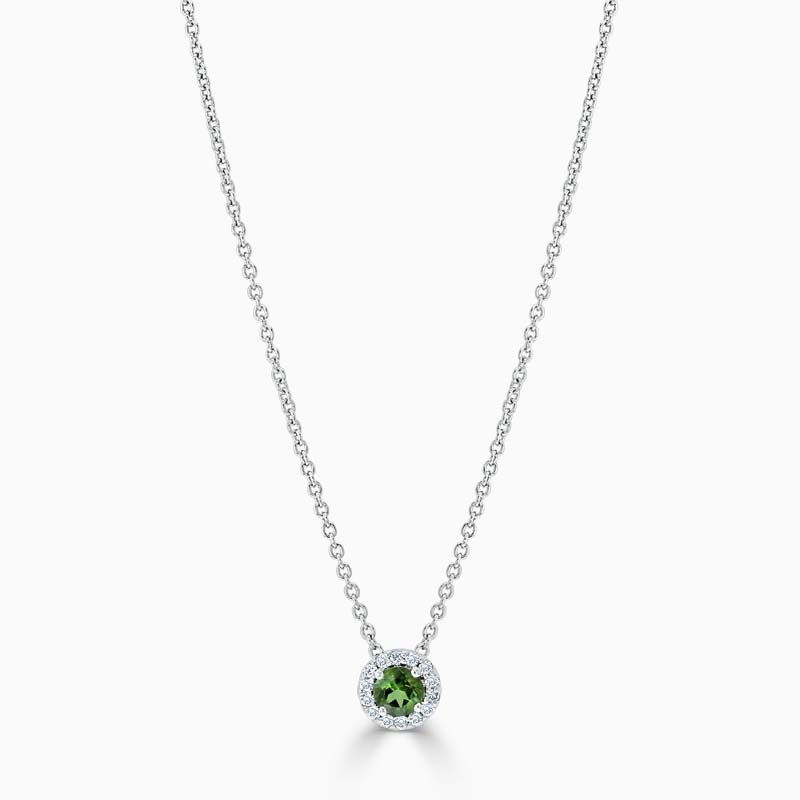 18ct White Gold Tourmaline and Diamond Cutdown Halo Pendant