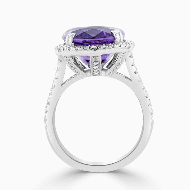 18ct White Gold Oval Amethyst and Diamond Pave Halo Dress Ring