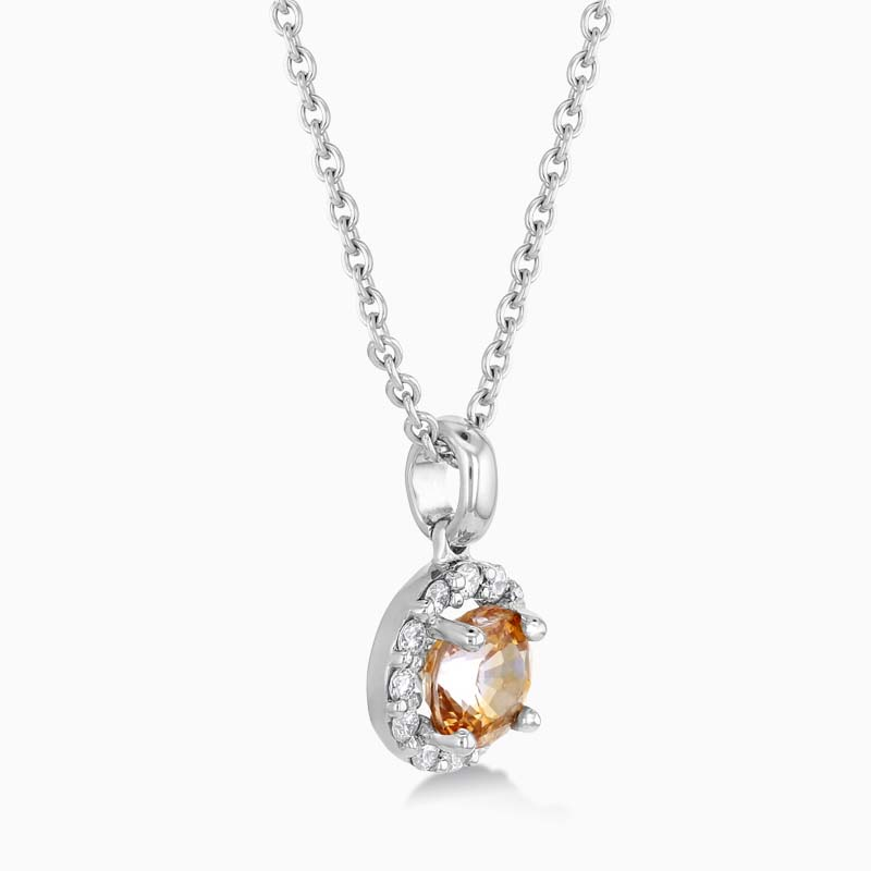 18ct White Gold Padparadscha Sapphire and Diamond Halo Pendant with Chain