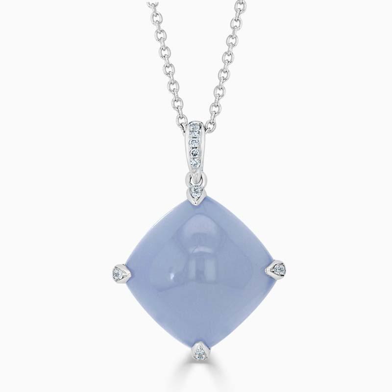 18ct White Gold Chalcedony & Diamond Claw Pendant