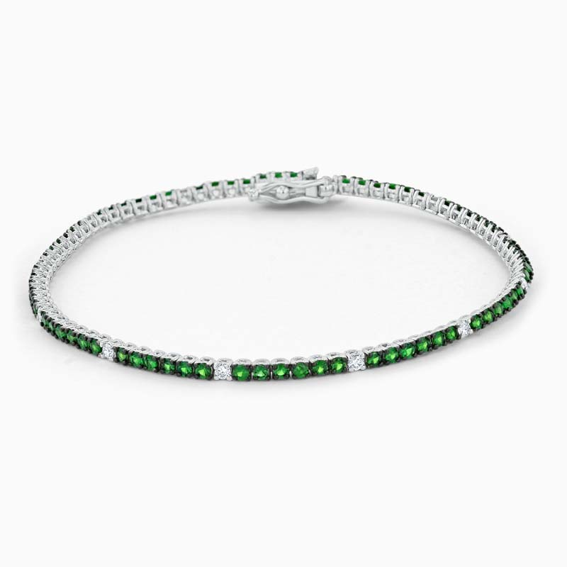 18ct White Gold Tsavorite & Diamond Bracelet