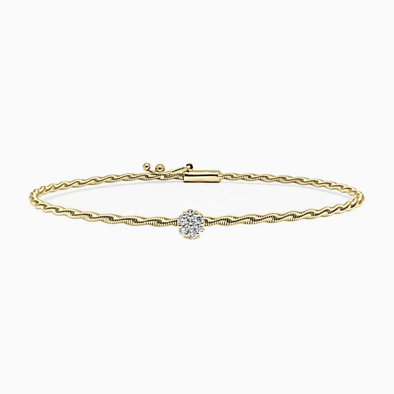 18ct Yellow Gold Florence Entwined Diamond Bangle