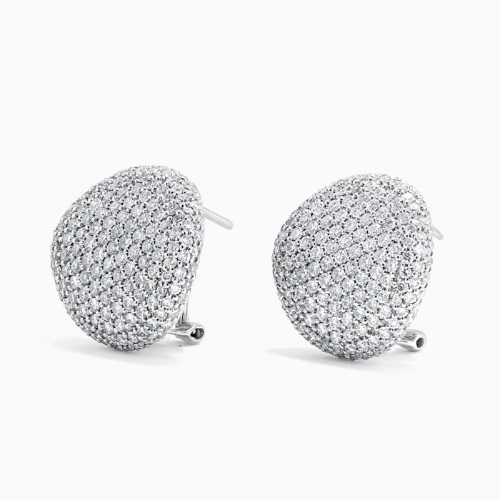18ct White Gold Diamond Pave Button Studs