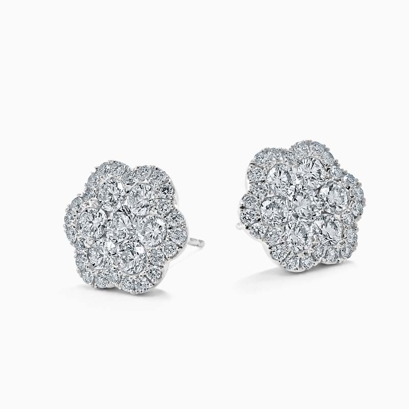 18ct White Gold Diamond Cluster Flower Halo's