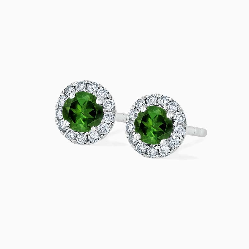 18ct White Gold Tourmaline & Diamond Cutdown Halo Studs