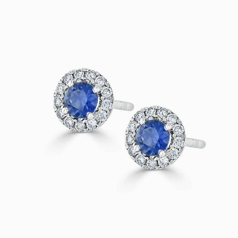 18ct White Gold Sapphire & Diamond Cutdown Halo Studs