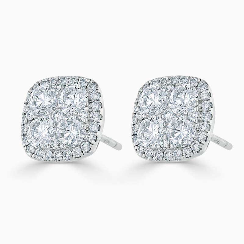 14ct White Gold Diamond Cluster & Halo Studs