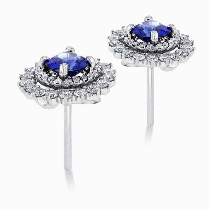 18ct White Gold Round Sapphire and Diamond Halo Stud with Removable Jackets