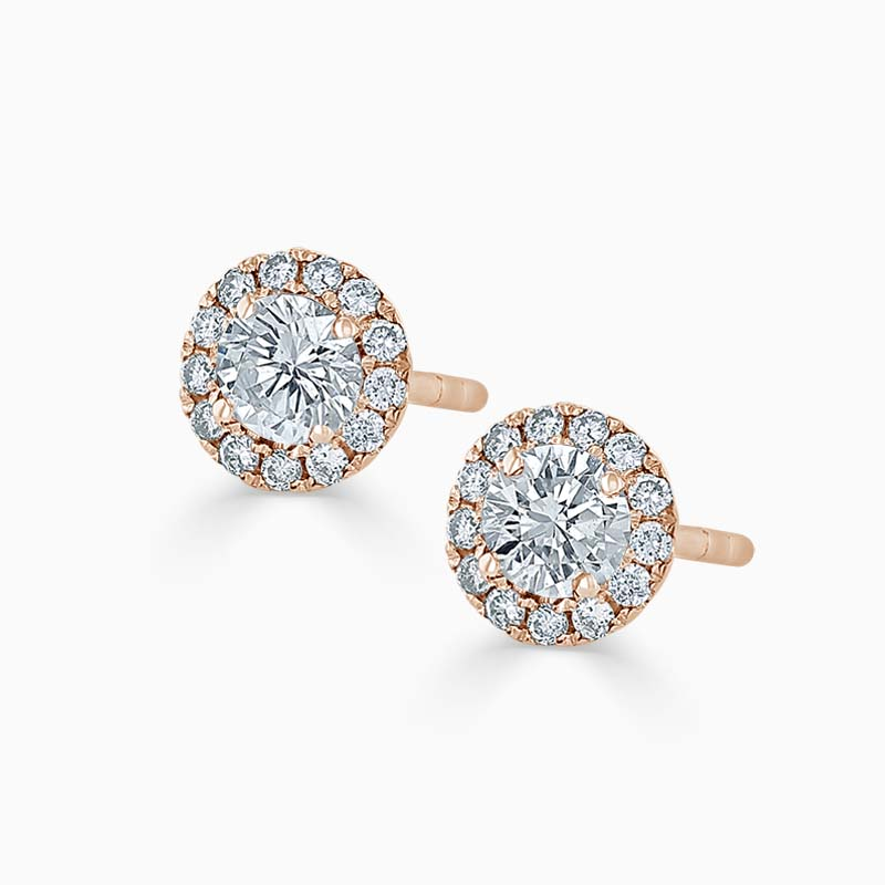18ct Rose Gold Diamond Cutdown Halo's