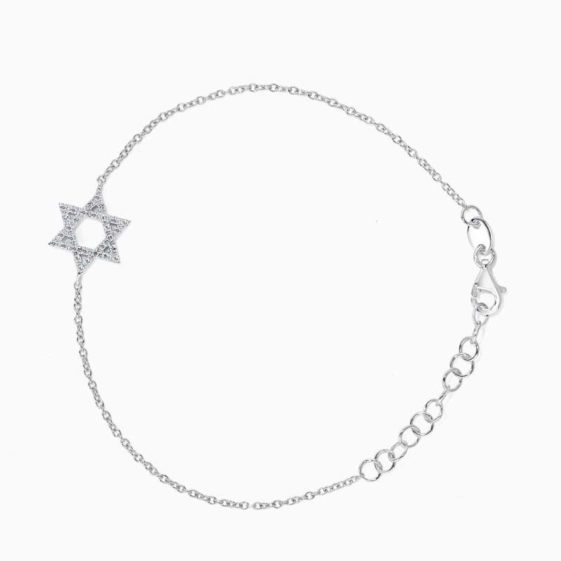 18ct White Gold Star Of David Motif Charm Bracelet