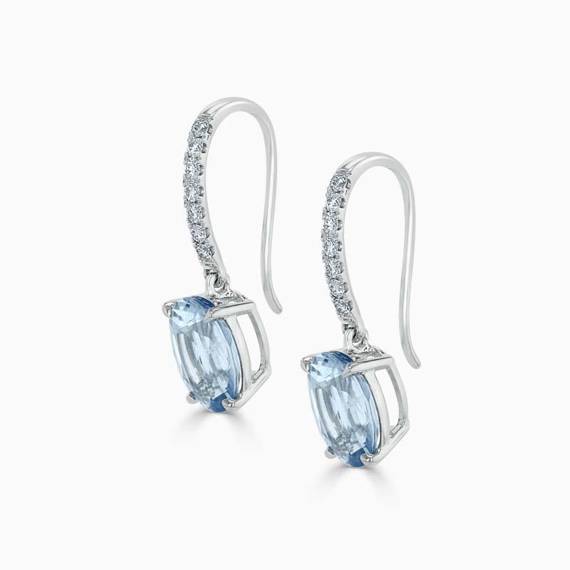 18ct White Gold Oval Aquamarine & diamond Drops