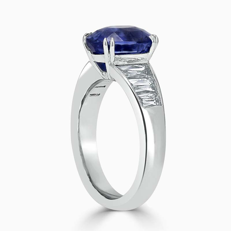 Platinum 950 Oval Noheat Blue Sapphire & Diamond Set Ring