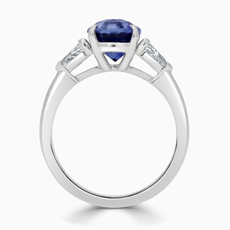 Platinum 950 Oval Sapphire & Diamond Ring - 3.36ct
