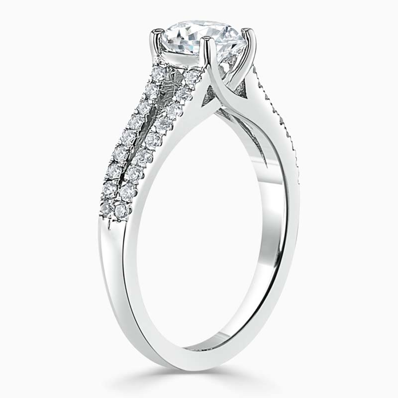 Platinum Asscher Cut Cutdown Split Shoulder Engagement Ring