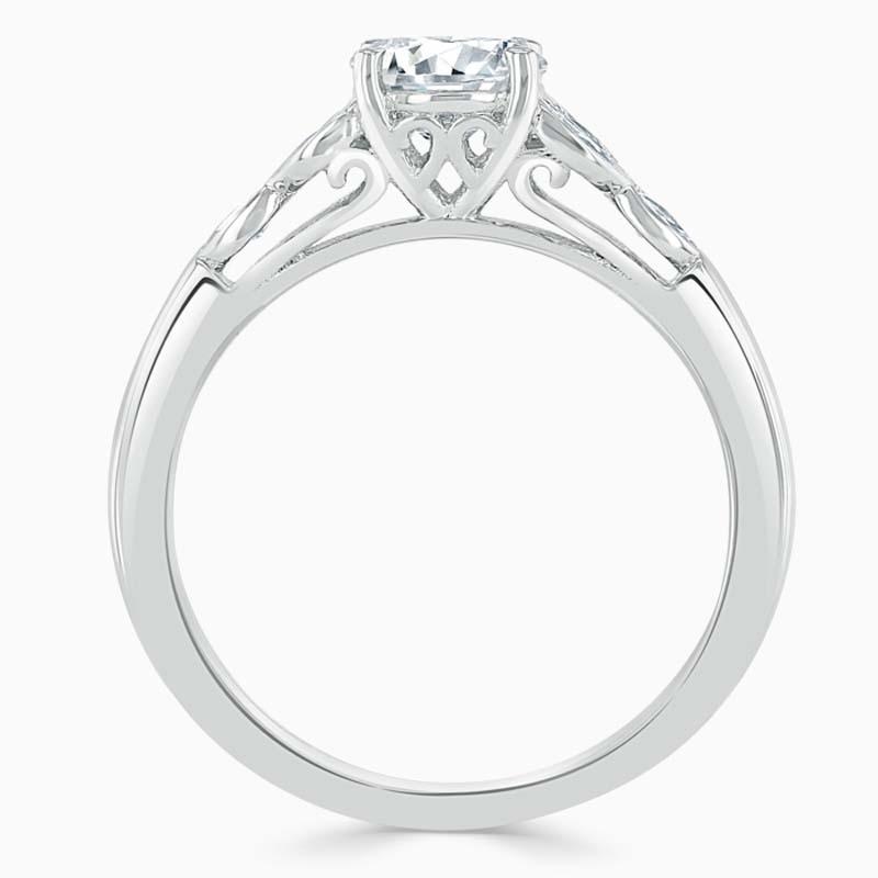 18ct White Gold Asscher Cut Leaf Engagement Ring