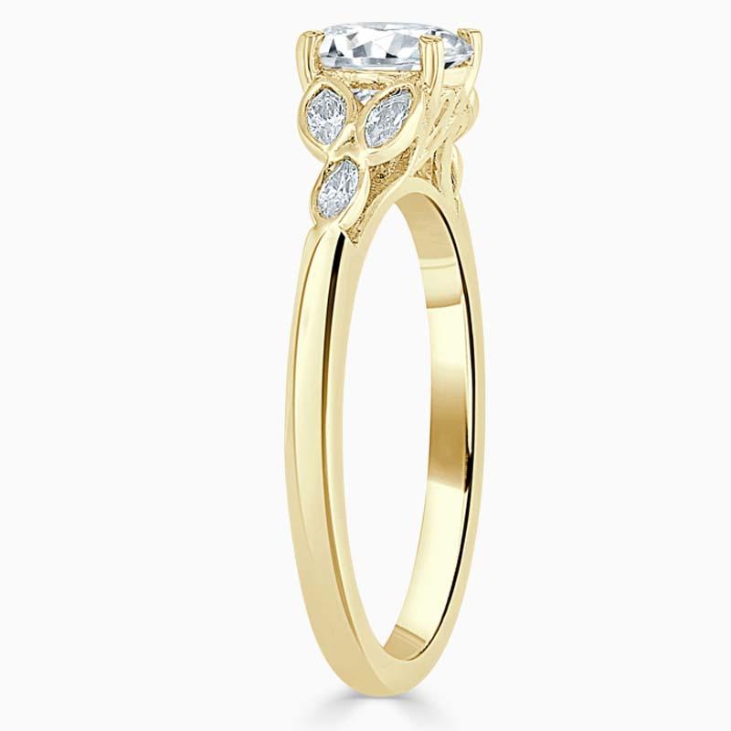 18ct Yellow Gold Asscher Cut Leaf Engagement Ring