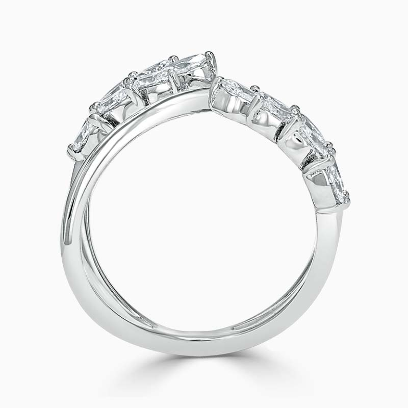 18ct White Gold Feather Crossover Diamond Ring
