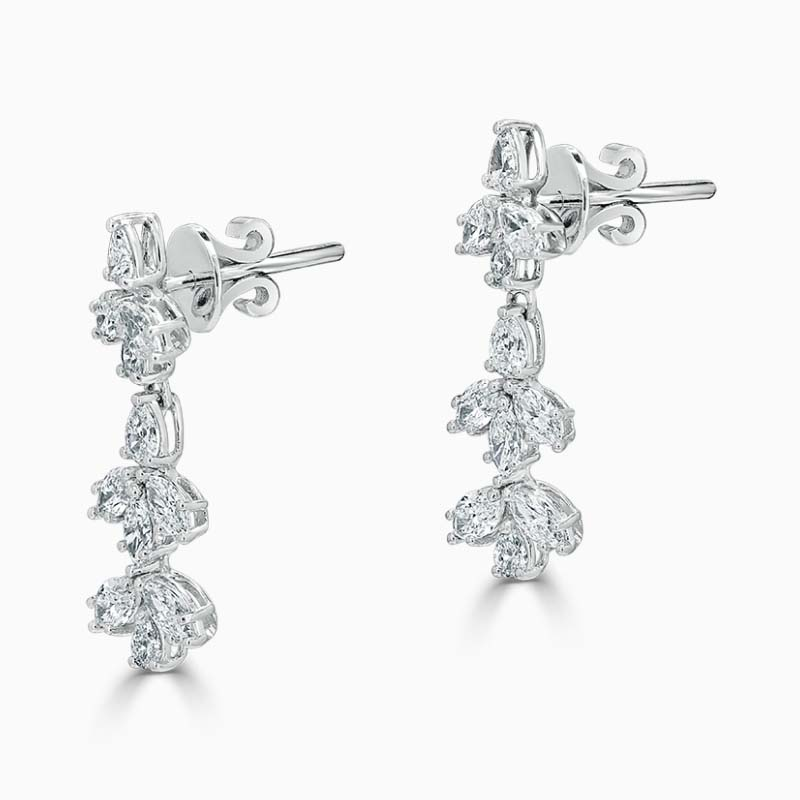 18ct White Gold Diamond Drop Earrings Set With Pear and Marquise Shapes