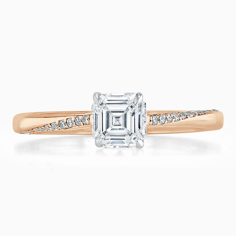 18ct Rose Gold Asscher Cut Vortex Engagement Ring