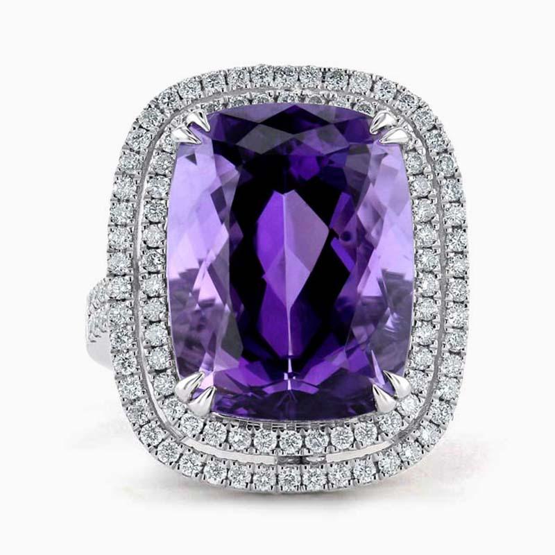 18ct White Gold Amethyst Double Halo & Diamond Set Dress Ring