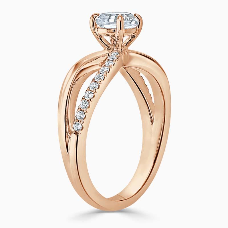 18ct Rose Gold Asscher Cut Woven Set Engagement Ring