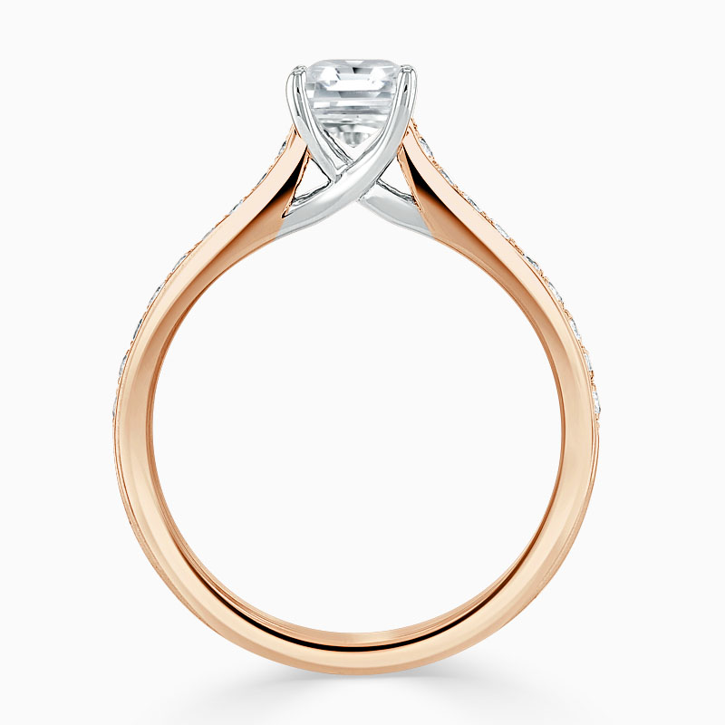 18ct Rose Gold Asscher Cut Openset Pavé Engagement Ring