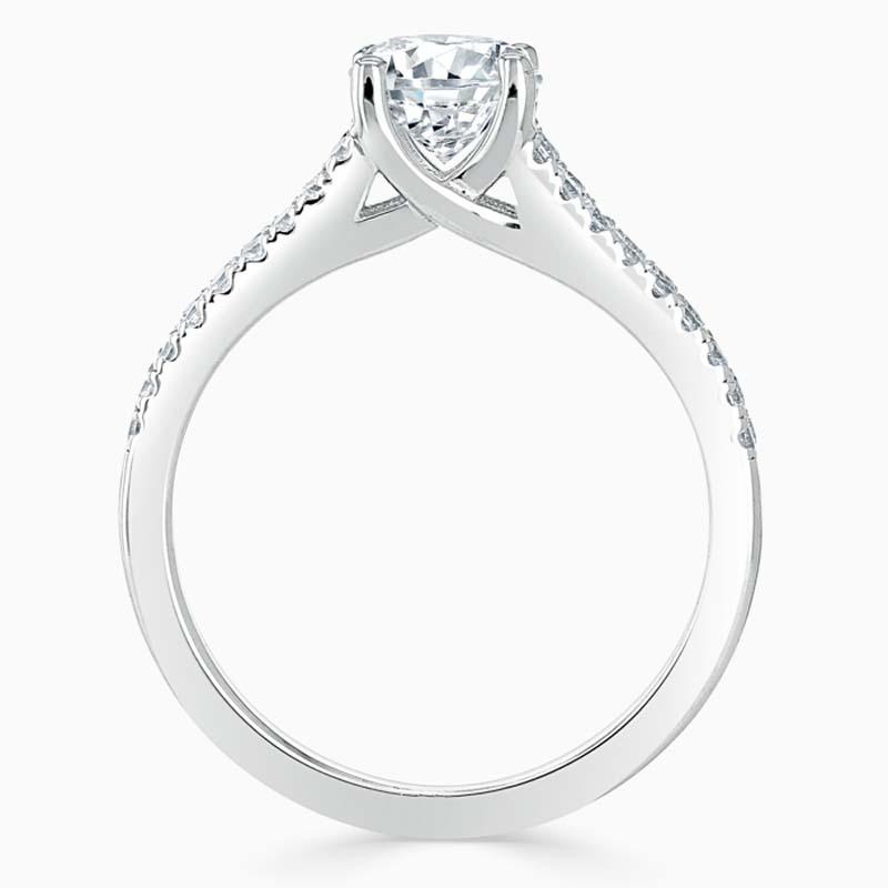 Platinum Cushion Cut Cutdown Split Shoulder Engagement Ring