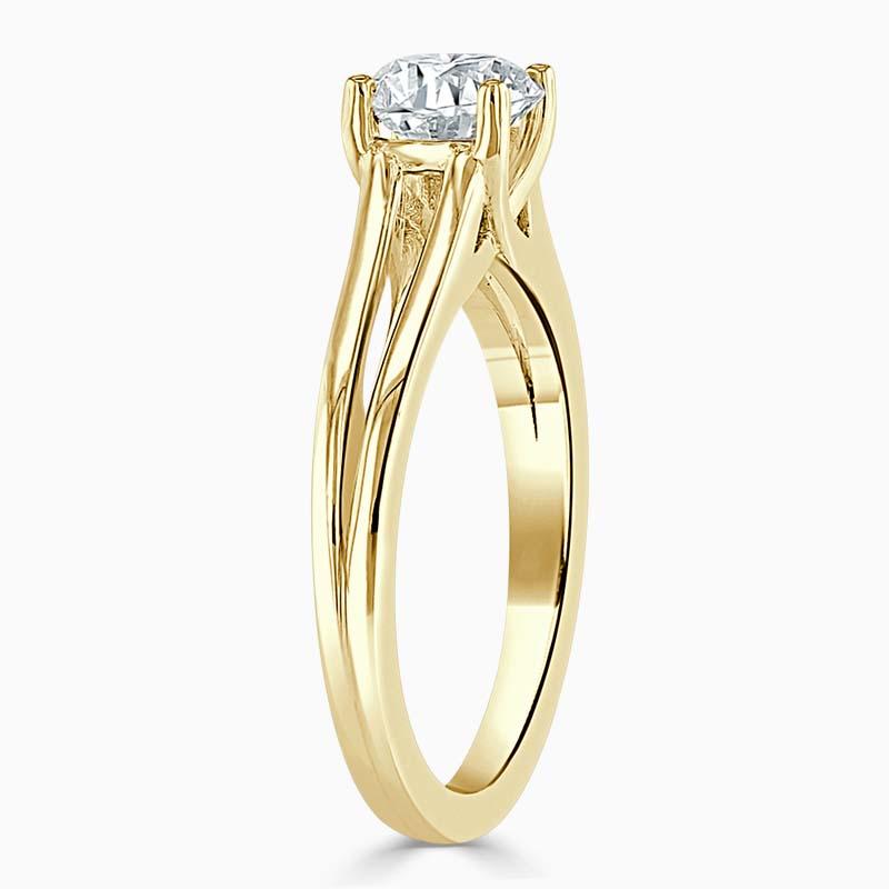 18ct Yellow Gold Cushion Cut Split Shoulder Engagement Ring