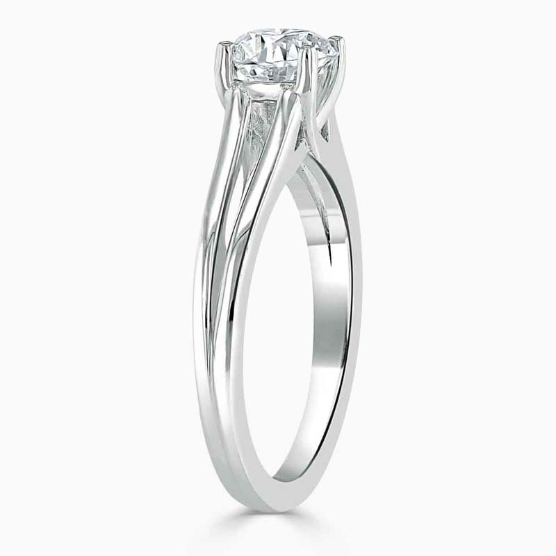 Platinum Cushion Cut Split Shoulder Engagement Ring