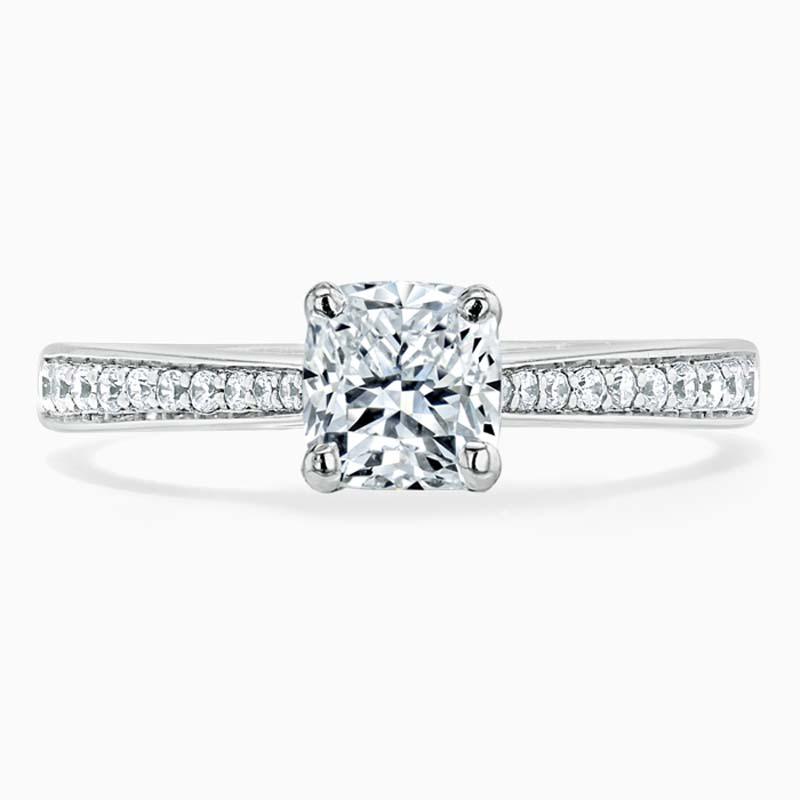 Platinum Cushion Cut Tapered Pavé Engagement Ring
