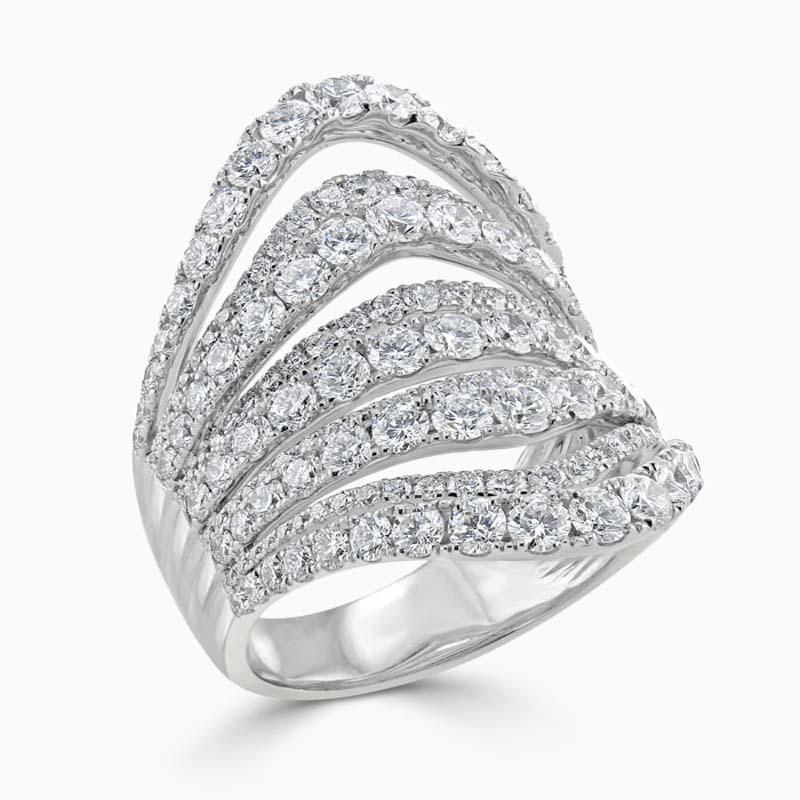 18ct White Gold Multi Strand Diamond Set Wide Dress Ring