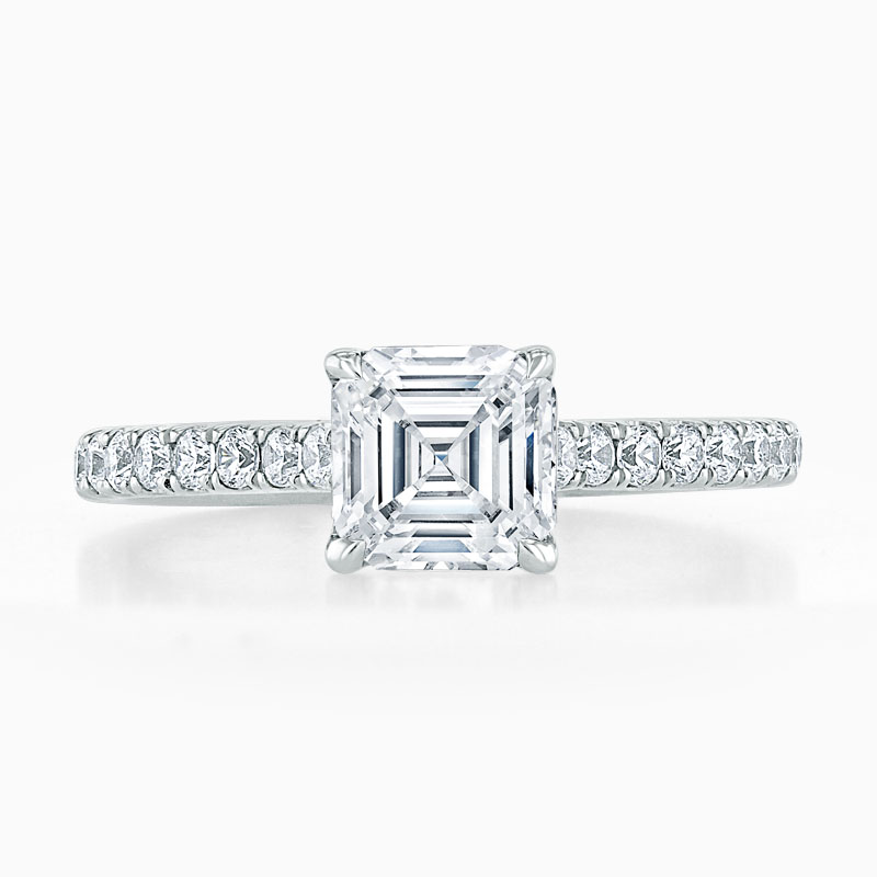 18ct White Gold Asscher Cut Classic Wedfit Cutdown Engagement Ring