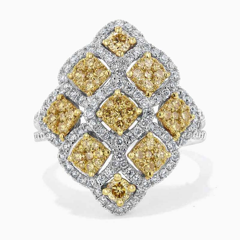 18ct White Gold Yellow Diamond Cluster Ring