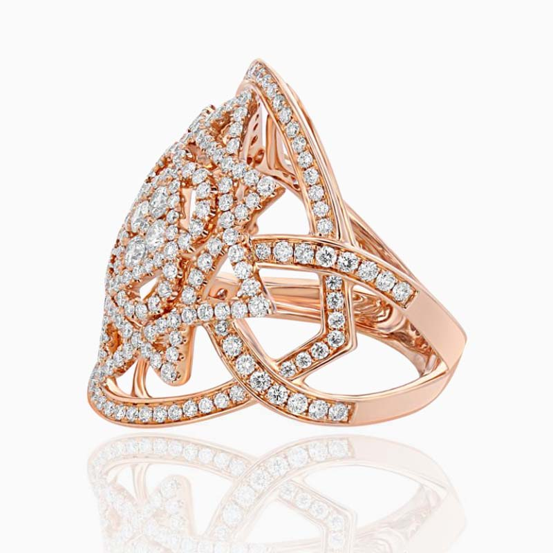 18ct Rose Gold Geometric Diamond Dress Ring
