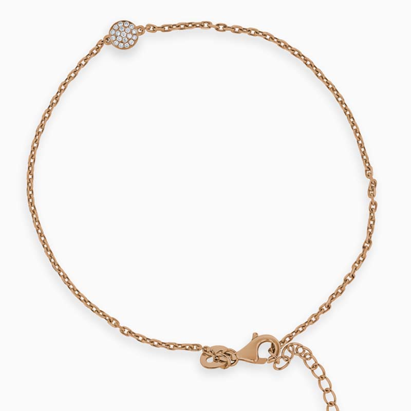 18ct Rose Gold Pavé Circle Diamond Charm Bracelet