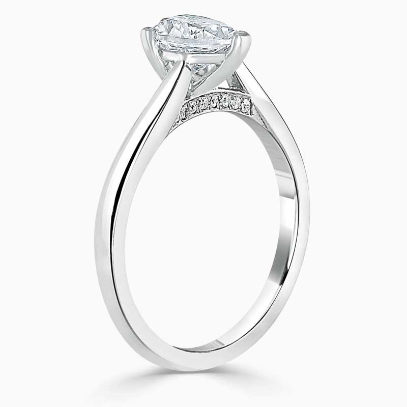 18ct White Gold Heart Shape Diamond Set Lotus Engagement Ring