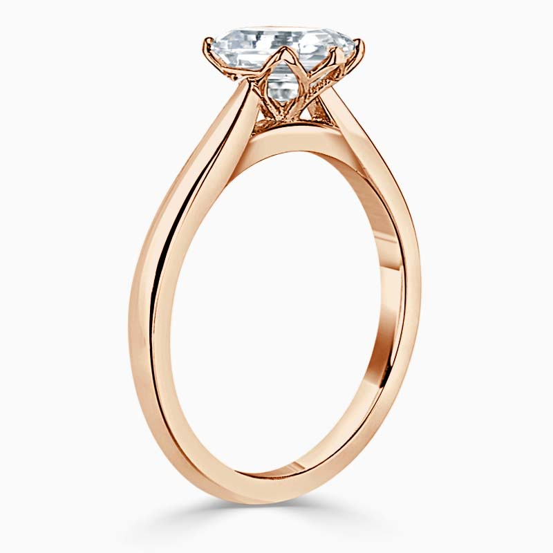 18ct Rose Gold Heart Shape Lotus Engagement Ring