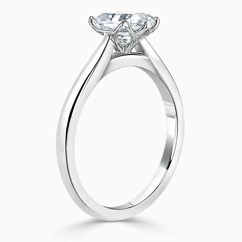 Platinum Heart Shape Lotus Engagement Ring