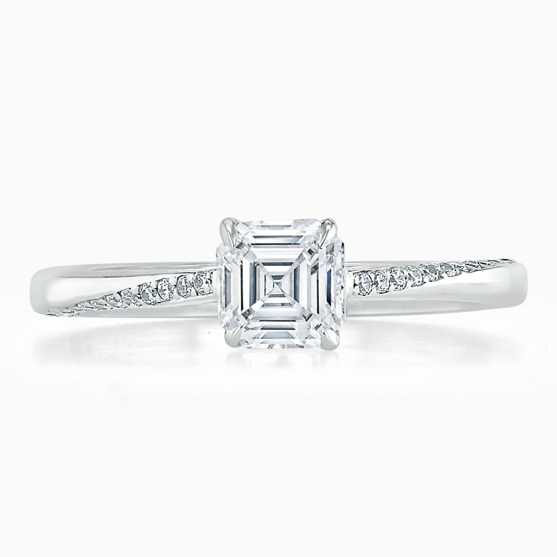 18ct White Gold Asscher Cut Vortex Engagement Ring