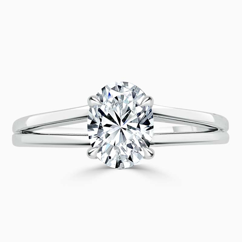 Platinum Oval Shape Split Shoulder Engagement Ring