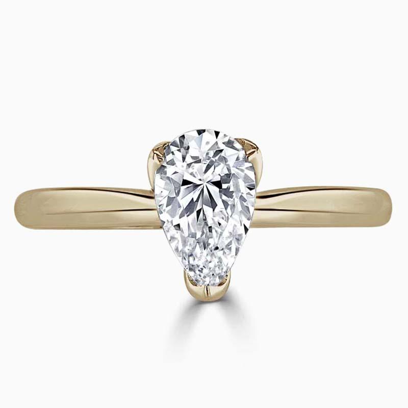 18ct Rose Gold Pear Shape Lotus Engagement Ring