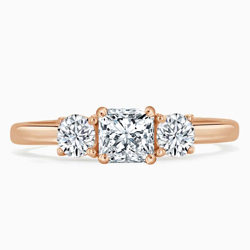 18ct Rose Gold Princess Cut 3 Stone with Rounds Engagement Ring
