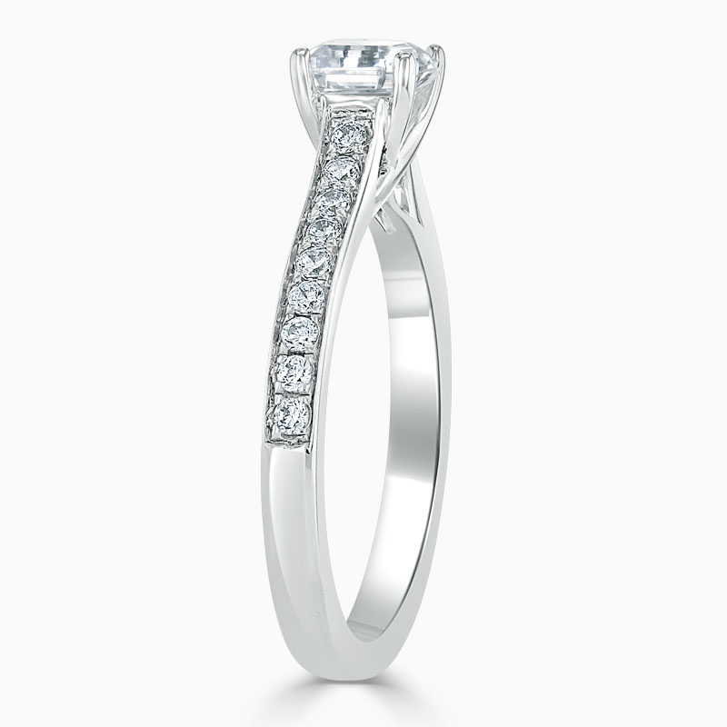 18ct White Gold Asscher Cut Openset Pavé Engagement Ring