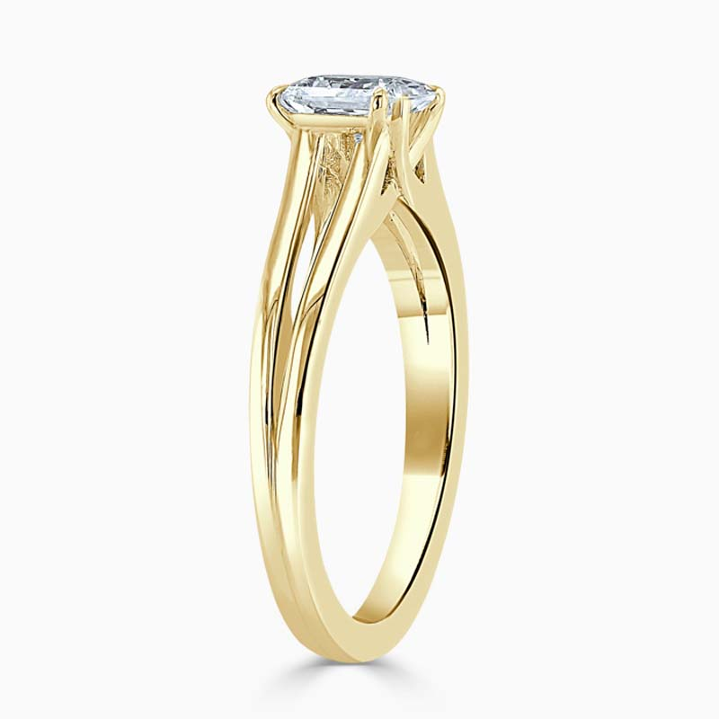 18ct Yellow Gold Radiant Cut Split Shoulder Engagement Ring