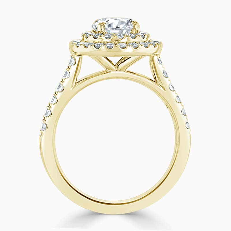 18ct Yellow Gold Round Brilliant Classic Double Halo Engagement Ring