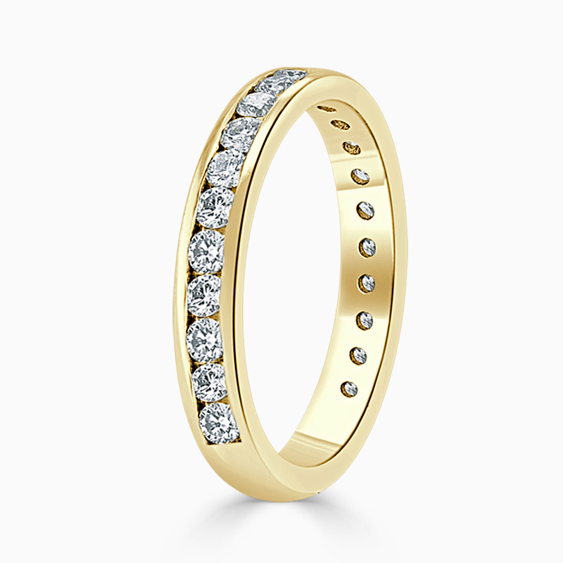 18ct Yellow Gold 3.25mm Round Brilliant Channel Set Three Quarter Eternity Ring