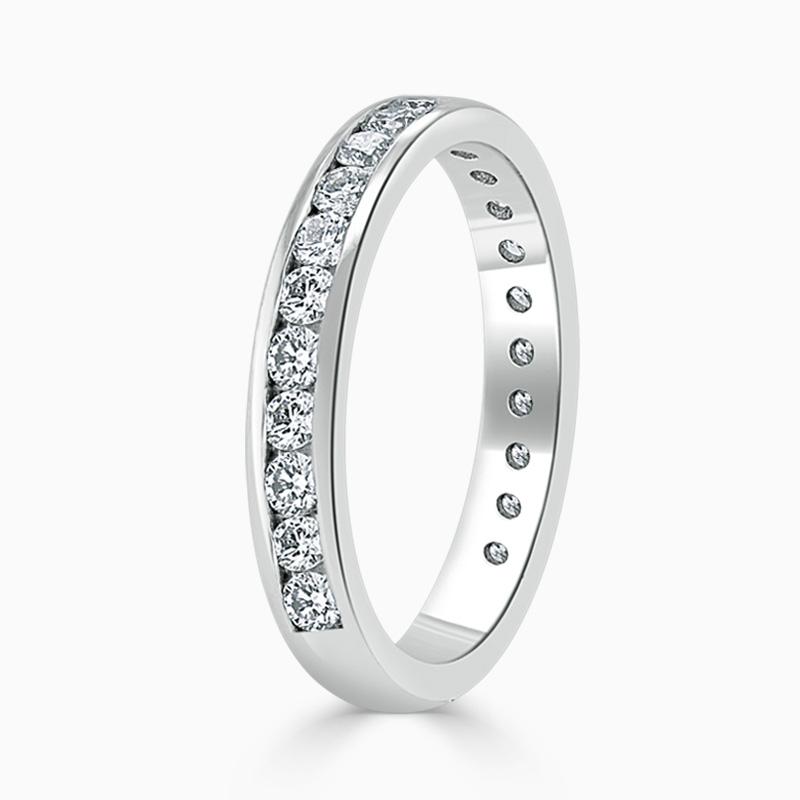 Platinum 3.25mm Round Brilliant Channel Set Three Quarter Eternity Ring