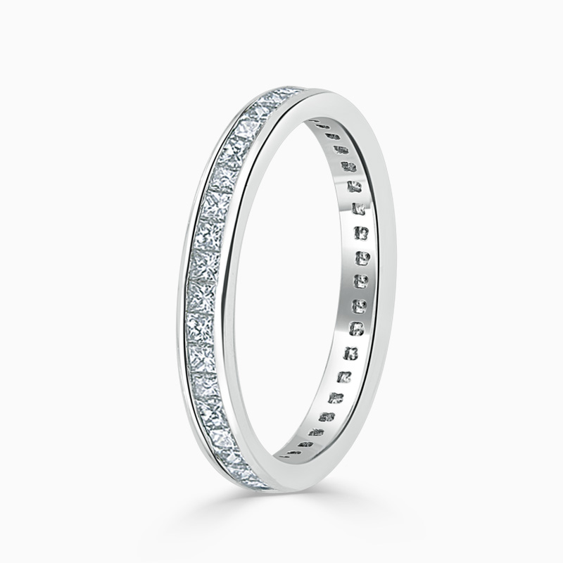 18ct White Gold 2.75mm Princess Cut Channel Set Full Eternity Ring